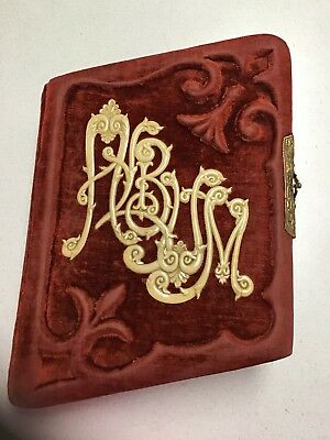 Antique Red Crushed Velvet Late Victorian Photo Album; 25+ Pictures Cabinet Card