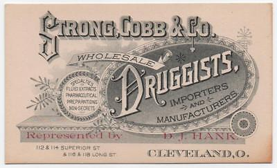 Strong Cobb & Co. Wholesale Druggists trade card  Factory image Cleveland Ohio