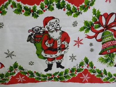 Great Vintage Christmas Tablecloth~Santa Claus~Candy Canes~Shiny Brites~Mint