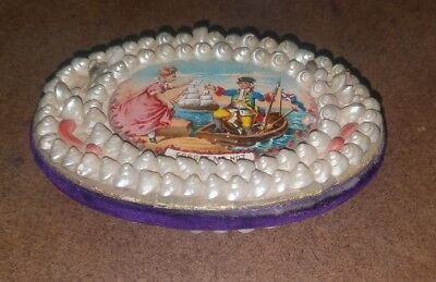 Antique Victorian Sailor's Valentine Forget Me Not Sea Shell Pin Cushion 1880's