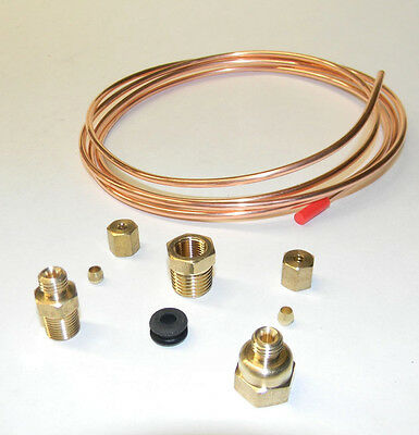 """MECHANICAL VACUUM GAUGE INSTALL KIT with FITTINGS & 72""""  COPPER TUBING NEW"""