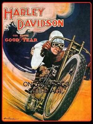 Vintage Board Track Racer Motorcycle Racing Poster Harley Davidson Goodyear Tire