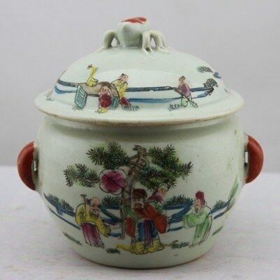 """Chinese Qing dynasty""""TongZhi""""powder color porcelain Play children tea caddy"""