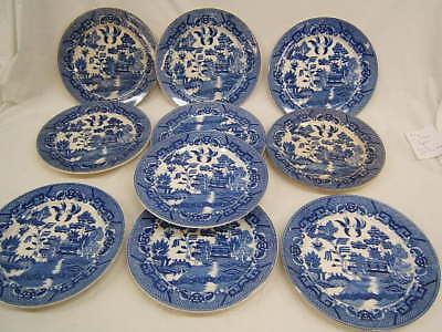 """Lot of 22 Pieces Vintage  """"Blue Willow"""" China Plates & Bowls Japan VGC"""