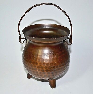 VTG Italian Hand Hammered Copper Small Kettle Cauldron Footed Hanging Pot Italy