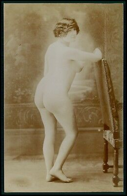 French nude woman butt & busty original 1900-1910s Citrate toning photo postcard