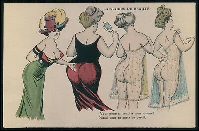 art Xavier Sager Big butt beauty contest nude woman original 1910s postcard