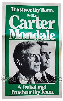 Alabama 1980 Re-Elect Carter Mondale For President Official Campaign Poster