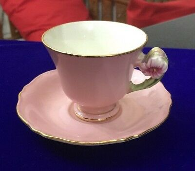 Vintage English Royal Winton Pink Petunia Coffee Cup & Saucer Flower Handle