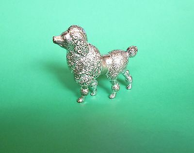 Vintage Solid Pewter Metal FRENCH POODLE Dog Figurine in GREAT Condition