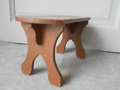 French Vintage wood rustic FOOT STOOL