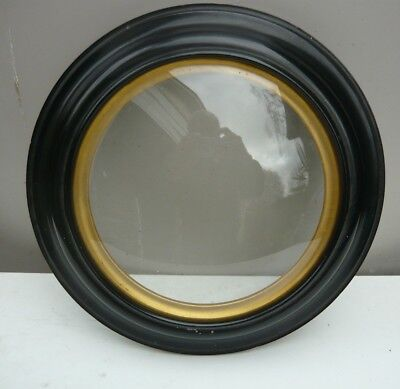 Antique circular domed glass picture frame - ebonised cedar and gilt. VG Cond.