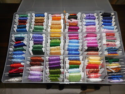 Embroidery Cottons 114 Colours On Cards And In Box  All Colour Coded