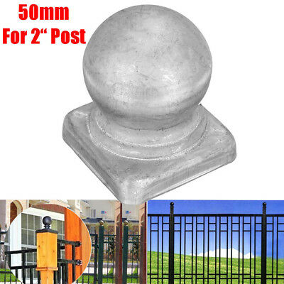 "50mm  2"" Square Posts Silver Metal Round Ball Fence Finial Post Cap Protect"