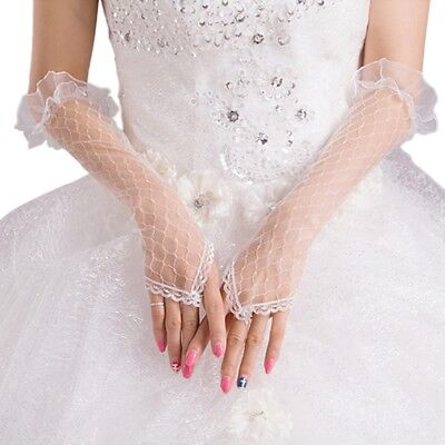 Womens Lace Mesh Bridal Gloves Fingerless Elbow Length Long Gloves Wedding Party