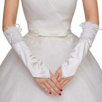 Womens Elbow Length Bridal Long Gloves Fingerless Lace Flower Wedding Prom Party