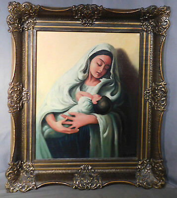 Vintage Ethnic Madonna Child Mother St. Mary Blessed Virgin Painting La Comma
