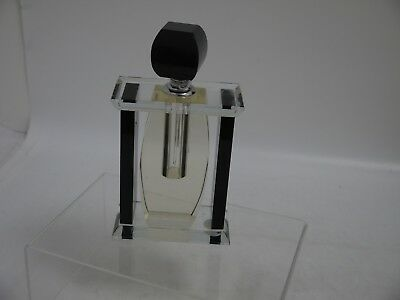 Large Glass & Black  Coloured Art Deco Style Scent Bottle   (Ms127)