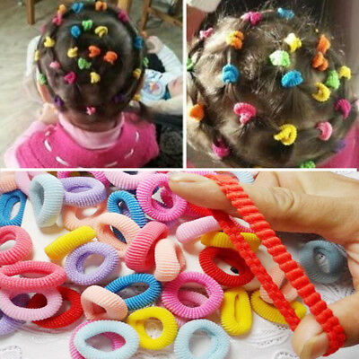 Pack Of 100 Assorted Colours Girls Baby Toddler Kids Elastic Hair Bands Bobbles
