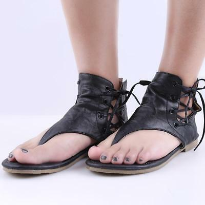 Hot Womens Flats Sandals Flip Flops Summer Gladiator Casual Lace Up Retro Shoes