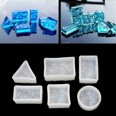 DIY SILICONE SQUARE Water Wave Muld Jewelry Pendant Resin