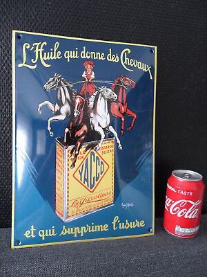 YACCO Oil Can Huile Chevaux - HQ Steel & Porcelain Enamel Emaille Sign # 77