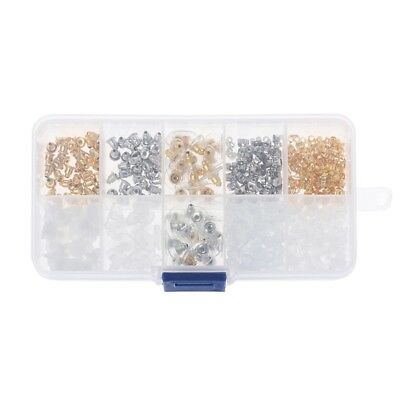 400Pcs Hypoallergenic Silicone Metal Assorted Earring Backs Box Jewelry Findings