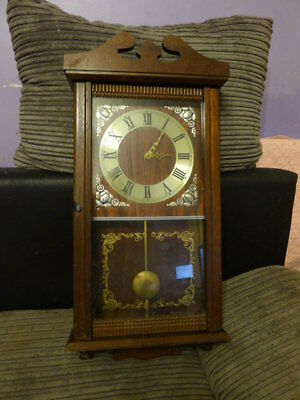 Long Case Wall Clock with decorated Front Glass..GWC..