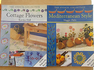 2 x The Stencil Collection~Cottage Flowers & Mediterranean Style~1999/2001~P/Bs