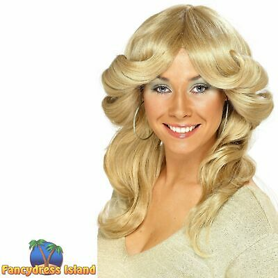 60's 70's Flick Long Wavy Wig Farrah Fawcett Adult Womens Fancy Dress Costume