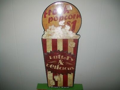 "Fresh Popcorn Buttery & Delicious Wooden Sign ""Great for Movie Room"""