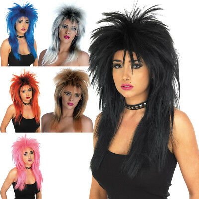 Glam Rock Wig Streaked Punk Retro 80's Women's Fancy Dress Costume