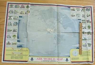 WWII American Airlines Map Poster 1944