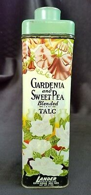Old Advertising Powder Tin Gardenia & Sweet Pea Blended Talc Lander Fifth Ave NY