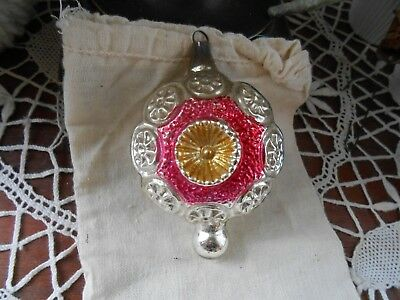 Antique Ornate Spinner Indent Embossed Christmas Ornament Bumpy Glass-Orig Clip
