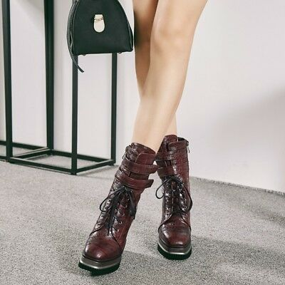 Ladies Lace Up Punk Platform Sprots Fur Lining Creepers Mid Calf Boots  Party Sz a03f337db7c7