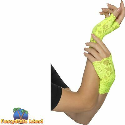 80's Fingerless Lace Neon Short Gloves Adult Womens Fancy Dress Accessory