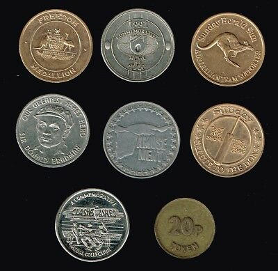 AUSTRALIA/World:- 8 different miscellaneous c1980's  medallions & tokens AP6934