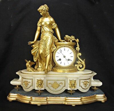 Antique French Marble & Gilt Metal Striking Mantel Clock Marti Mourey Dated 1869