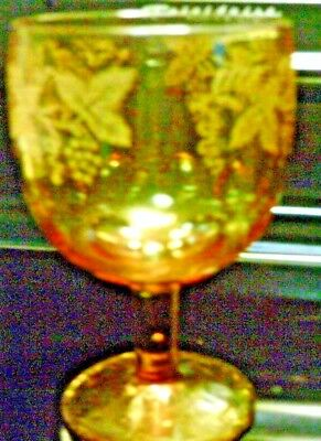Amber glass leaf and grape embossed design Compote retro