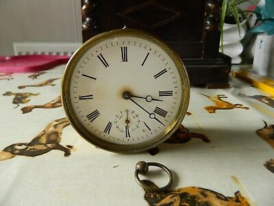 Brass  Drum Clock Working For Spares Or Repair