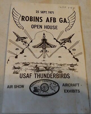 Robins AFB GA Open House USAF Thunderbirds Air Show VTG Vintage Sept 1971 Paper