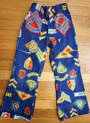 Boys Vintage 60s 70s ~ Military Novelty Print Pants ~ Bell Bottoms ~Army Costume
