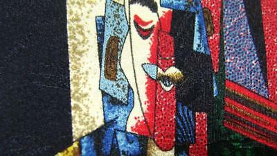 Picasso Collection Man With A Pipe 1915 Black Red Silk Necktie Tie Mau0318B #g21