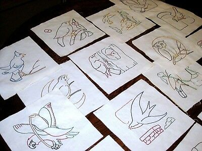 Vintage Lot of 24 Handmade Embroidered BIRDS Quilt Blocks Unbleached Cotton