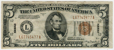 """1934 Us. $5 Note """"hawaii"""" Federal Reserve Note, Scarce Nice Crisp Note."""
