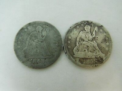 1853 & 1858 US Silver Seated Quarters Cull