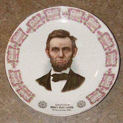 antique 1910 President Abe LINCOLN advertising Calendar Plate Onken's Peoria, IL