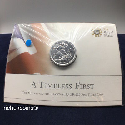 [2013 UK Bullion]1x Royal Mint St. George & The Dragon £20 Fine Silver Coin-UNC