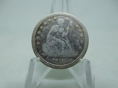 1861 US Silver Seated Quarter Very Good
